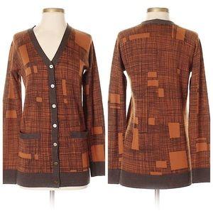 RACHEL ROY 100%Merino Wool Squares&Grid Cardigan-S
